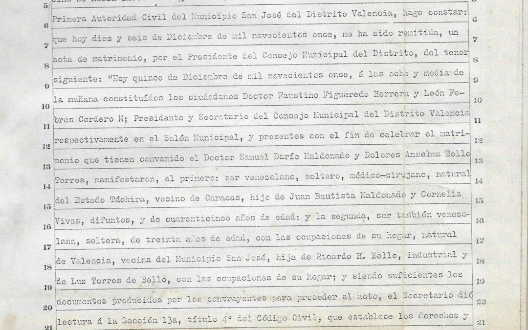 Acta de Matrimonio de Samuel Darío Maldonado con Lola Bello.