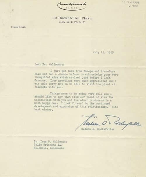 Carta de Nelson A. Rockefeller para Iván D. Maldonado, New York, 1 pág.