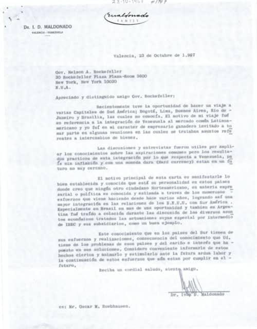 Carta del Dr. Iván Darío Maldonado para Nelson A. Rockefeller. 1+1 págs.