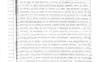 Acta Constitutiva de la Estación Biológica El Frío. 4págs.