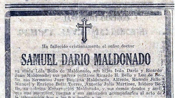 Efeméride 11: Fallecimiento Samuel Darío Maldonado