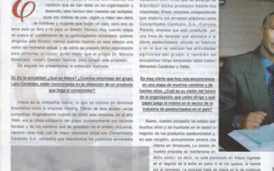 """Entrevista al Dr. Marcos Maldonado: INLACA está muy comprometida con la calidad de sus productos"""". 3 págs."""